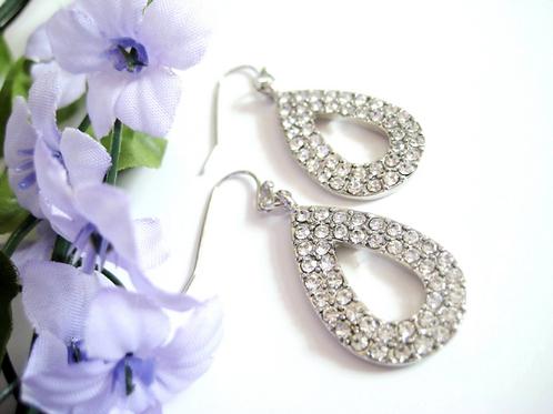 Crystal Silver Tear Drop Bridal Earrings