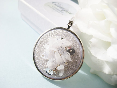 Moonstone Haute Couture Embroidered Pendant, Gift Idea, Gift For Fashion Lover