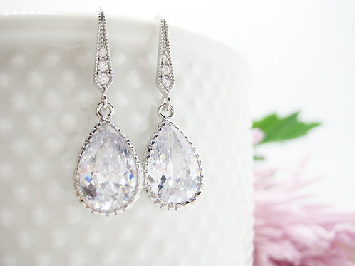 Sparkling Cubic Zirconia Drop Bridal Earrings