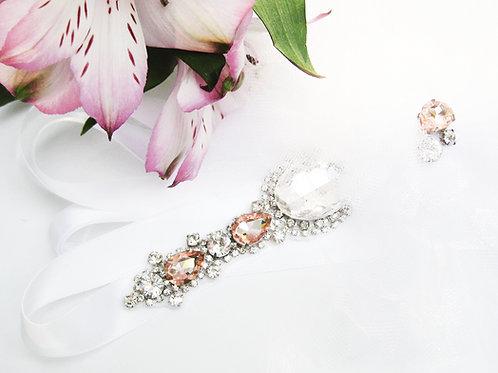 Pink Swarovski Crystal Tulle Puff Flower Girl Sash, Bridal Sash