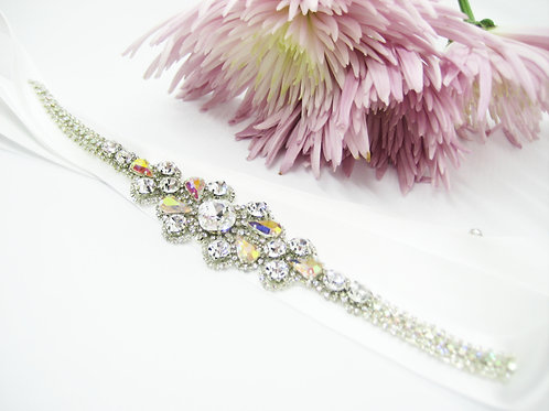 Couture Hand Beaded Crystal AB Bridal Sash