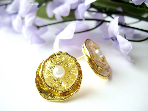 Gold Pearl Disc Bridal Post Earrings