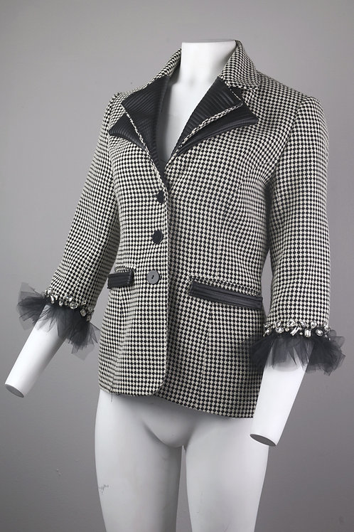 Black and White Wool Jacket