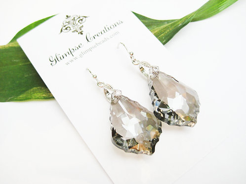 Large Black Diamond Bridal Crystal Earrings