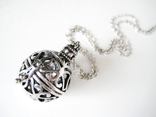 Aromatherapy Essential Oil Diffuser Silver Ball Necklace