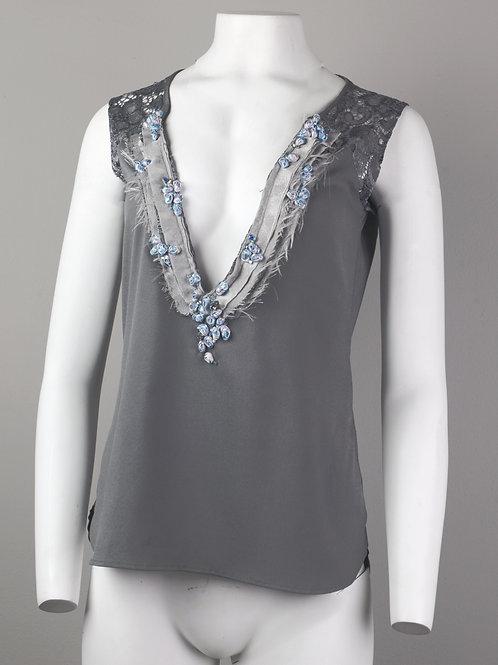 Grey Flower Lace Tank Top