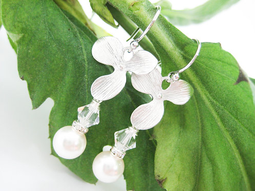 Swarovski Pearl And Crystal Orchid Bridal Earrings