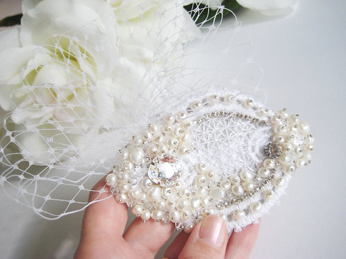 Parisian Inspired Couture Pearl Bridal Hair Clip