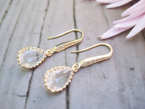 Gold Crystal Vintage Inspired Bridal Drop Earrings