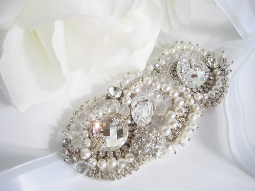 Parisian Inspired Couture Crystal And Pearl Abstract Bridal Hair Accessory