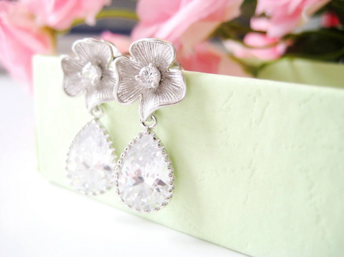 Silver Flower Crystal Post Bridal Earrings