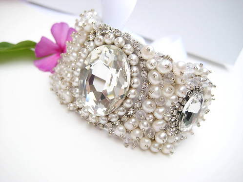 Statement Couture Pearl and Crystal Bridal Cuff Bracelet