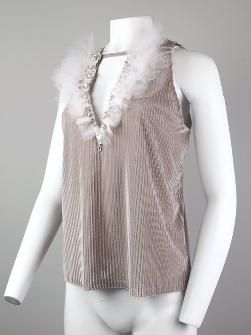 Pink Tulle and Crystal Deep V Tank Top