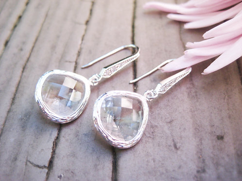 Clear Crystal Silver Vintage Inspired Earrings