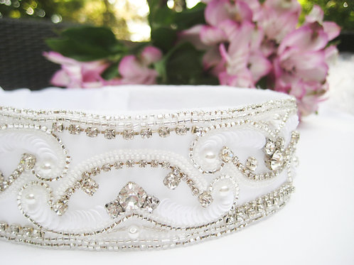 Hand Embroidered Bridal Sash, Bridal Belt, Crystal Bridal Sash