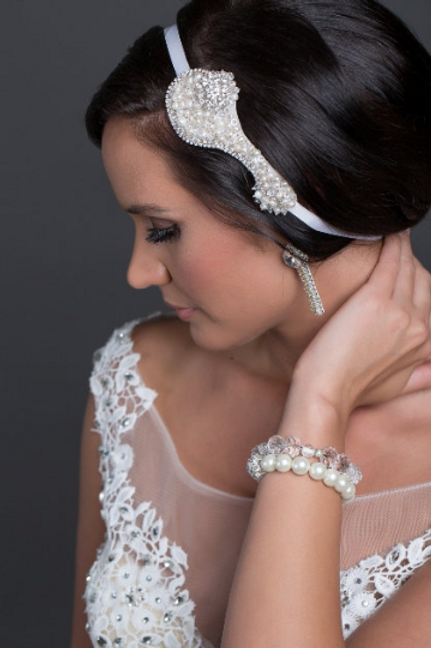 Pearl and Crystal Couture Embroidered Bridal Hair Ribbon