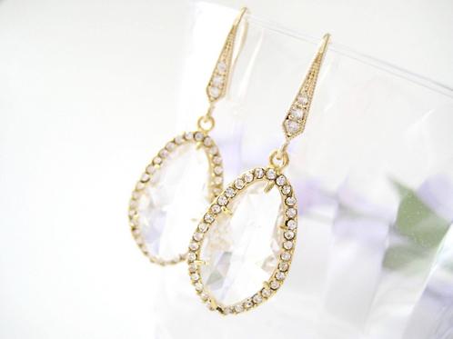 Crystal Clear Elegant Gold Bridal Earrings