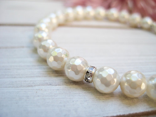 Faceted Cream Pearl Bridal Bracelet With Crystal Magnetic Clasp