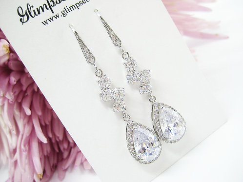 Sparkling Cubic Zirconia Bridal Drop Earrings