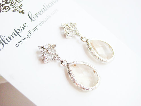 Vintage Inspired Bridal Champagne Crystal Post Earrings