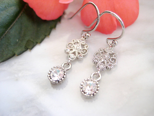Vintage Inspired Silver Earrings with Small Hanging Crystal