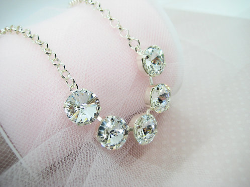 Swarovski Crystal Clear Large Crystal Bridal Necklace