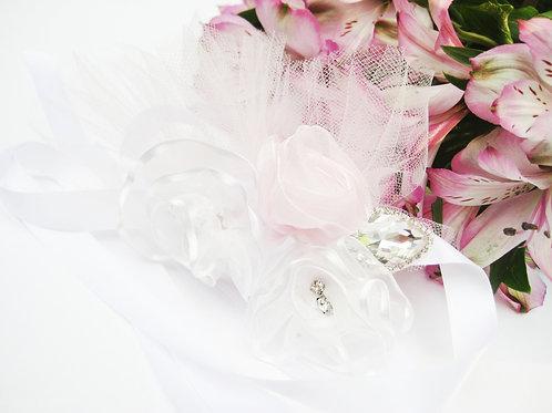 Pink And White Flower, Crystal Leaf Flower Girl Sash