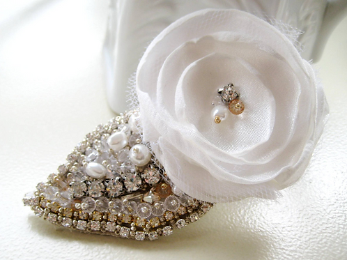 Bridal White Flower with Couture Embroidered Leaf Hair Clip