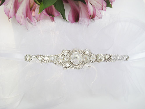 Crystal White Tulle Flower Girl Sash