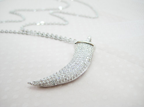 Sparkling Crystal Tusk Long Silver Necklace
