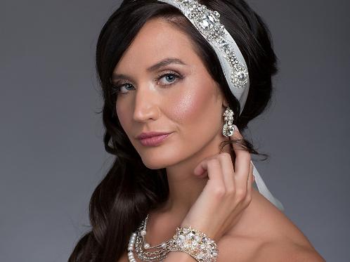 Couture Crystal Ivory Bridal Headband or Bridal Sash