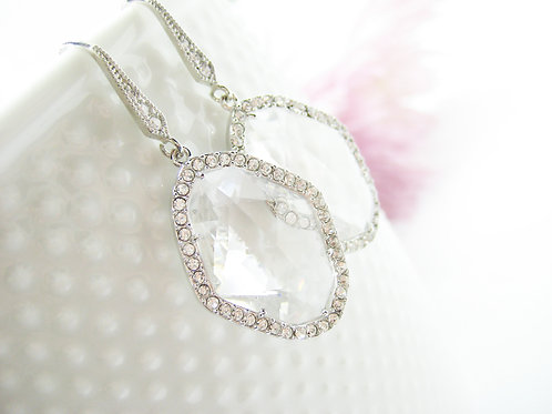 Large Clear Crystal Sparkling Bridal Earrings