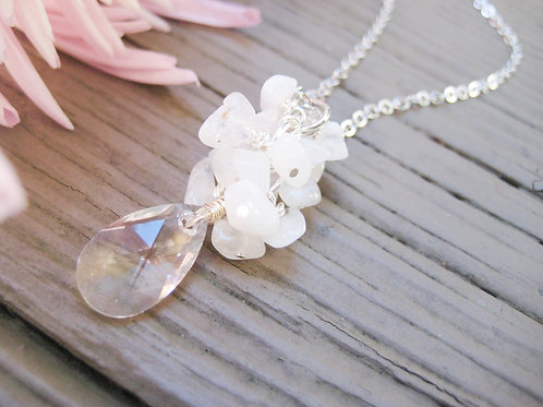 Moonstone and Swarovski Crystal Silver Necklace