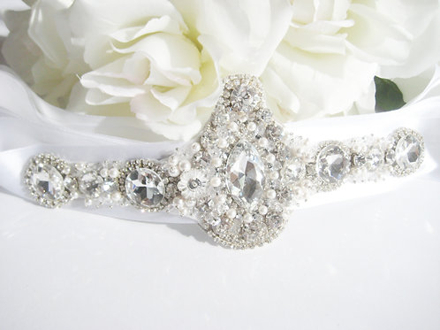 Couture Hand Beaded Crystal Bridal Sash With Pearls