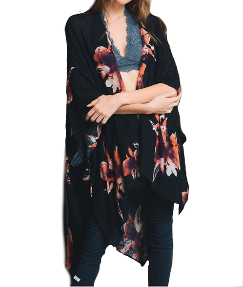 Black Floral Print Long Boho Kimono W/ Armholes - Fate + Destiny