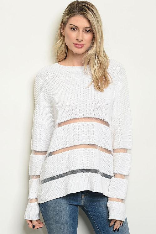 Ivory Mesh detail Knit Sweater