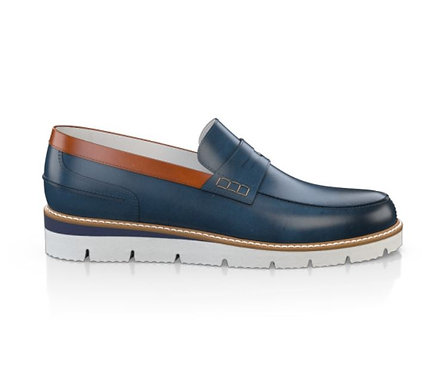 MEN`S PENNY LOAFERS -Navy &White sole