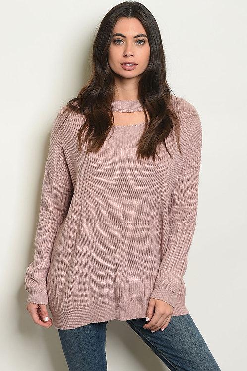 Mauve lace up back knit  Sweater