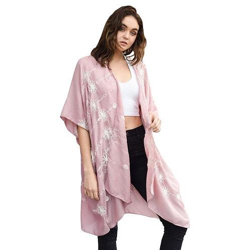 Stitched Mauve Daisy Long Kimono - Fate + Destiny