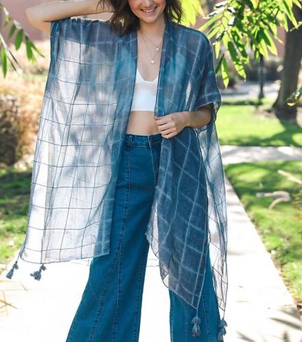 Sophi - Blue Boho Metallic Grid Kimono