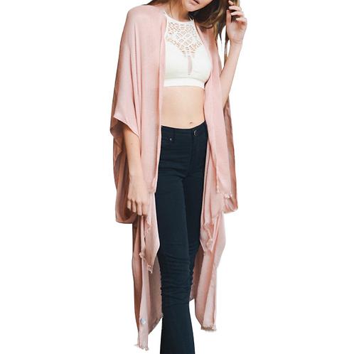Pink Blush Open Grid Frayed Trim Kimono With Armholes