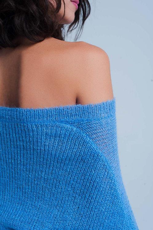 Blue v Neck Knitted Sweater
