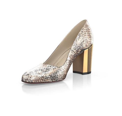 GI-Metallic Block Heel Shoes-  Snake Stamped Leather