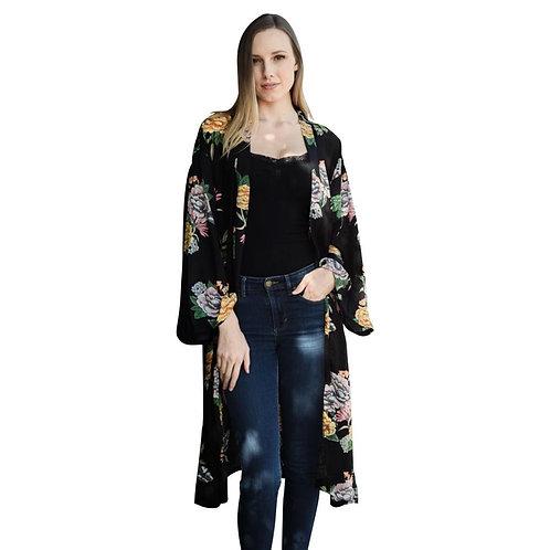 Beautiful Black Peony Floral Kimono - Fate + Destiny