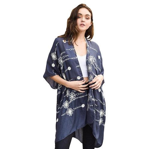 Stitched Charcoal Daisy Long Kimono - Fate + Destiny
