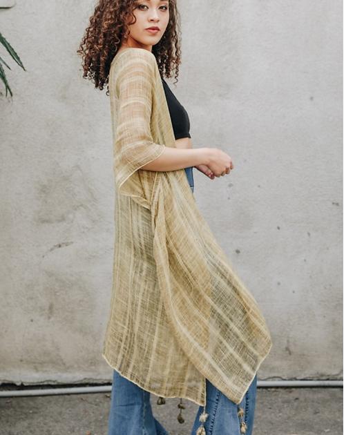 Lila - Bronze Boho Vertical Striped Kimono - Fate + Destiny