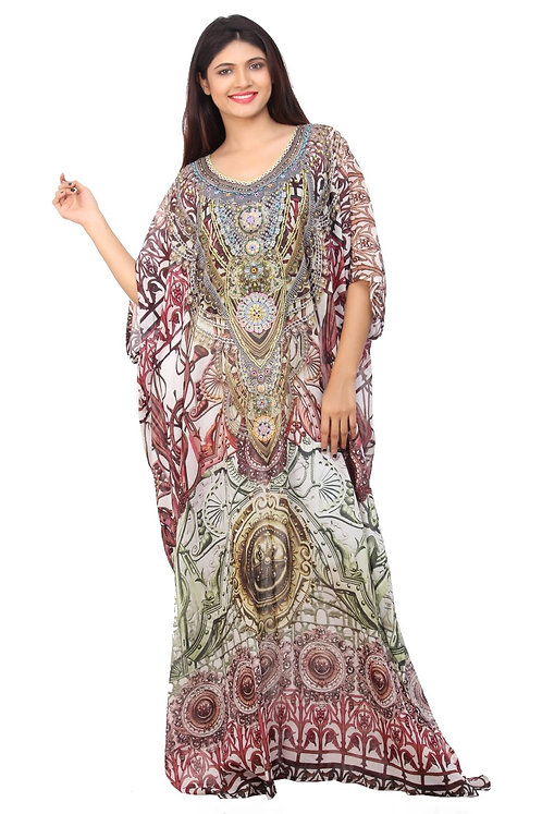 Silk kaftans - Hook Up With Abstract Tribal Patterned Long Silk Kaftan and Style