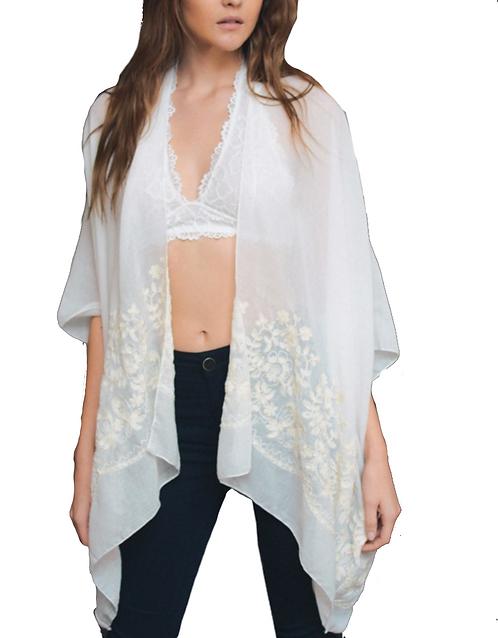 Floral Embroidered Stitch Kimono - Comes in 2 Colors - Fate + Destiny