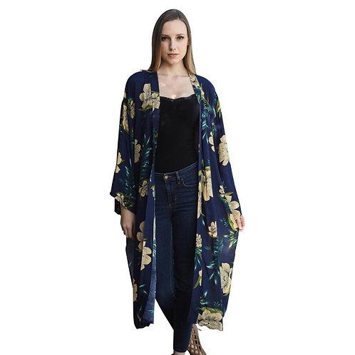 Beautiful Long Navy Blue Floral Kimono - Fate + Destiny
