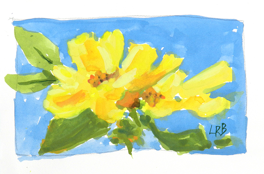 yellow roses on blue sm